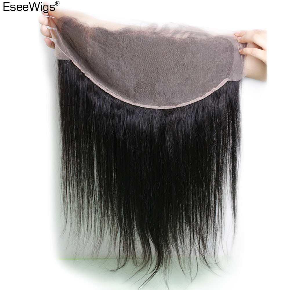 Eseewigs 13*6 Lace Frontal Silk Straight Ear To Ear Closure Peruvian Remy Human Hair Baby Hair Pre Plucked Bleached Knots