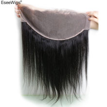 Eseewigs 13*6 Lace Frontal Silk Straight Ear to Ear Closure Peruvian Remy Human Hair Baby Hair Pre Plucked Bleached Knots(China)
