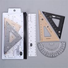 Conjunto de ferramentas de geometria de matemática de 4 pces, régua de triângulo, conjuntos de régua clara de plástico, transferidor, quadrados ajustados, triângulo para desenho & desenho