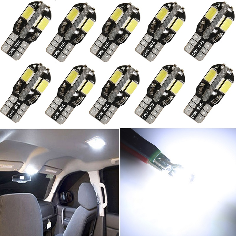 10x W5W T10 LED Canbus Bulb 194 168 Car Clearance Parking Lights For <font><b>Peugeot</b></font> 206 4008 5008 Auto Interior Reading Trunk <font><b>Lamp</b></font> White image