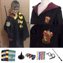 Movie Adult Potter Cosplay Costume Robe Cloak With Tie Scarf Ravenclaw Gryffindor Slytherin Hufflepuff Potter Costume Party Gift(China)