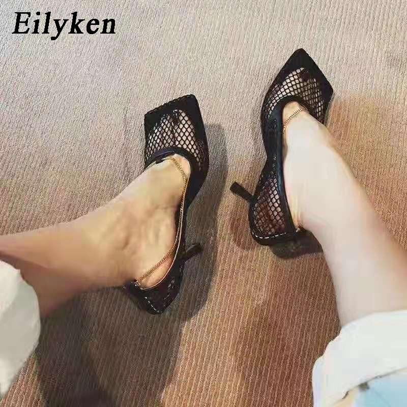Eilyken Summer Autumn Sexy Mesh Pumps Sandals Female Square Toe High Heel Chain Stiletto Hollow Party Dress Pumps Shoes 9CM 7CM