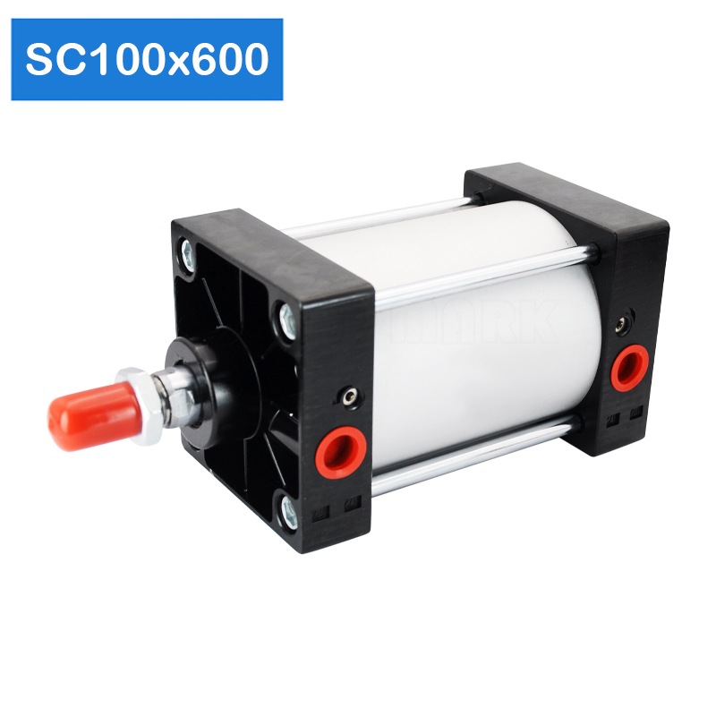 Free shipping SC100x600 Series Single Rod Double Acting Pneumatic Bore 100 Strock 600 Standard air pneumatic cylinder SC100*600|Pneumatic Parts| |  - title=