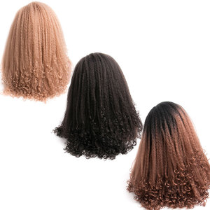 Image 5 - MoKoGoddess Afro Kinky Curly Wigs For Black Women Long Synthetic Wig African American Braided Wigs