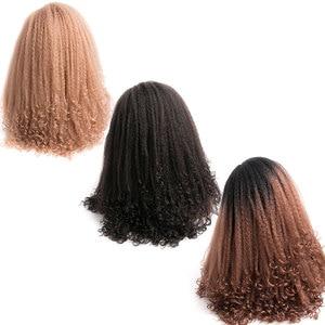 Image 5 - Mokogoddess 흑인 여성을위한 아프리카 변태 곱슬 가발 긴 합성 가발 아프리카 계 미국인 꼰 가발
