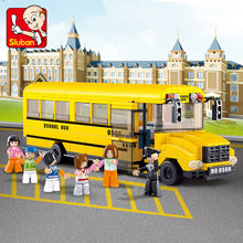382Pcs City Big School Bus Car Building Blocks Sets DIY Bricks Juguetes Binquedos LegoINGLs Technic Playmobil Toys For Children(China)