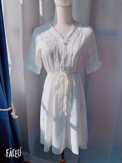 New New Lace up Summer Dress Girls Boho Party Chiffon Female Vintage Dress white Short Sleeve Women Dresses Robe Vestido 5