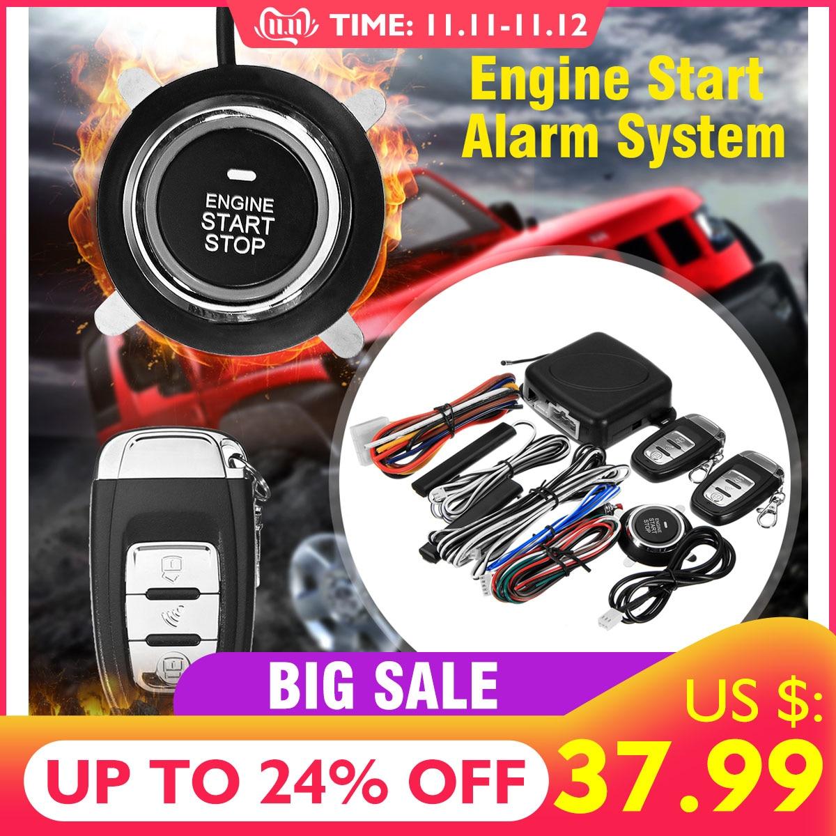 9 pc diy carro suv keyless entrada do motor iniciar keyless sistema de alarme botão remoto starter stop automóveis acessórios do carro