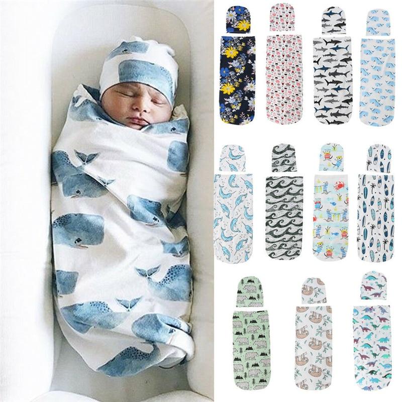 Newborn Photography Prop Baby Blankets Printed Newborn Infant Baby Boys Girls Sleeping Swaddle Muslin Wrap +Hat 2PCS