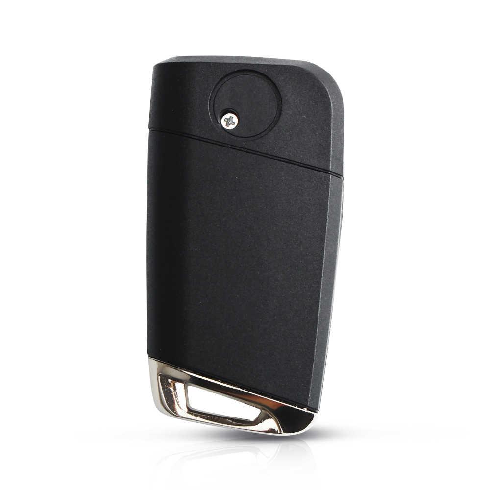 Dandkey modifiye 3 düğmeler katlanır kapak uzaktan anahtar kabuk ile HU66 Blade Volkswagen VW Golf 7 Jetta Passat Beetle polo Bora