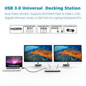 Image 2 - Wavlink Universal USB 3.0 Docking Station Dual Video Display Monitor RJ45 Gigabit Ethernet Support 1080P DVI/HDMI Working Online