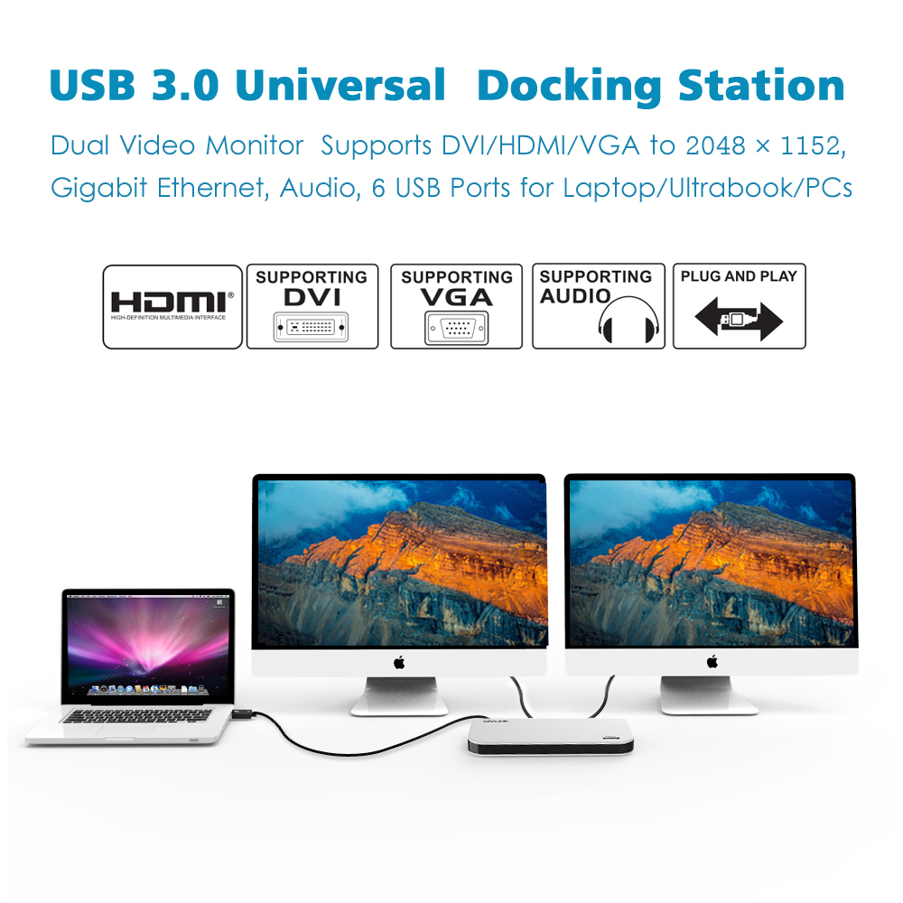 Wavlink Universal USB 3.0 Docking Station Dual Video display Monitor RJ45 Gigabit Ethernet Support 1080P DVI/HDMI/VGA for Laptop