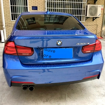 Use For BMW 3 Series F30 2013-2018 Year Spoiler M3 Sport ABS Plastic Carbon Fiber Look Rear Trunk Wing Car Body Kit Accessories image