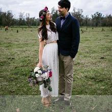 Короткое свадебное платье из двух частей кружевное Бохо С иллюзионным