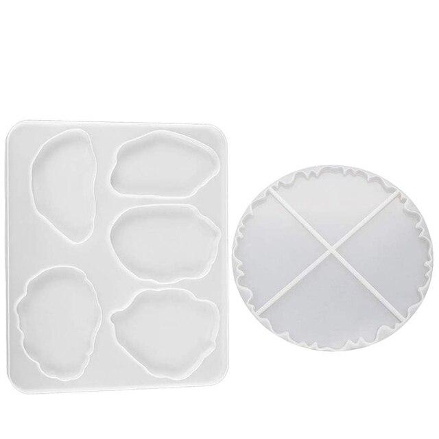 2 sztuk silikonowe formy żywiczne, 5 duży rozmiar nieregularne wzory i 4 elastyczne Geode agat wzory do produkcji Coaster, mata pod miskę,