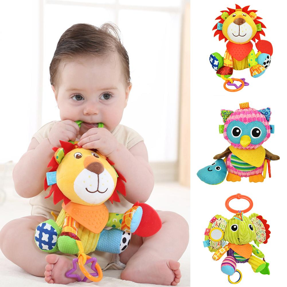 2020 New Cute Cartoon Animal Baby Crib Bed Stroller Hanging Ring Toy Squeaky Teether Baby Gifts