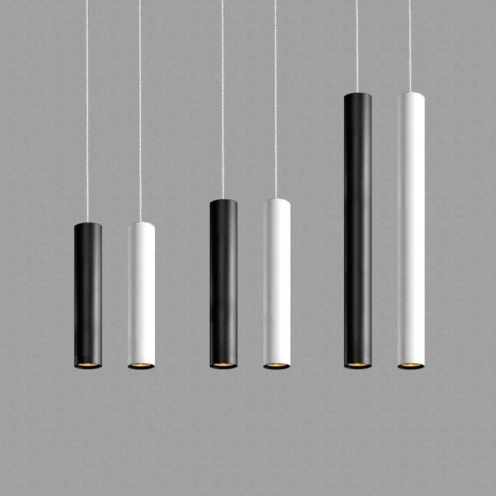 Led Pendant Lamp Long Tube Lamp Kitchen Island Dining Room Shop Bar Decoration Cylinder Pipe Hanging Light Kitchen Lamp Black