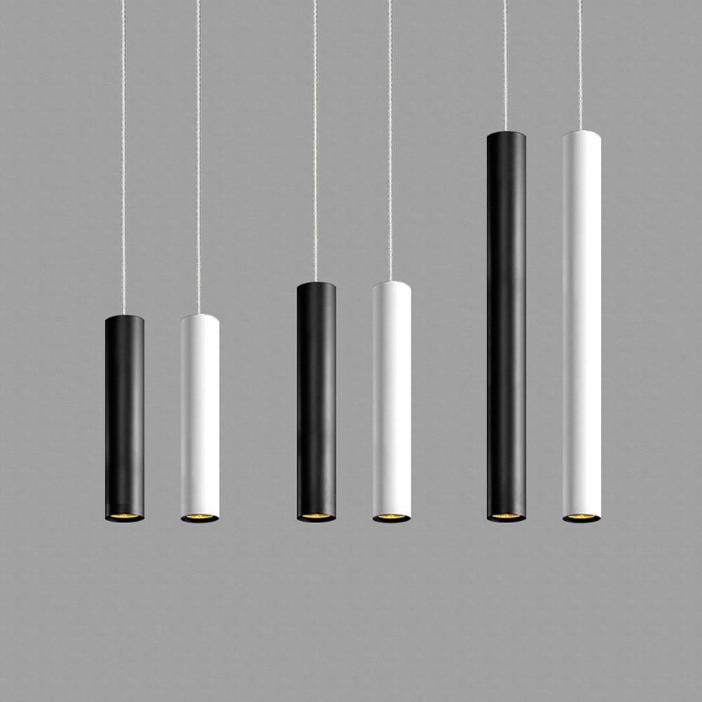 Led Pendant Lamp Long Tube Lamp Kitchen Island Dining Room Shop Bar Decoration Cylinder Pipe Hanging Light Kitchen Lamp Black