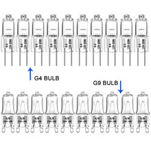 20 pces g4 brilhante super 12v g9 230v halogênio lâmpada 10w 20 40 halogênio branco quente interior claro halogênio g4 g9 lâmpadas de halogênio