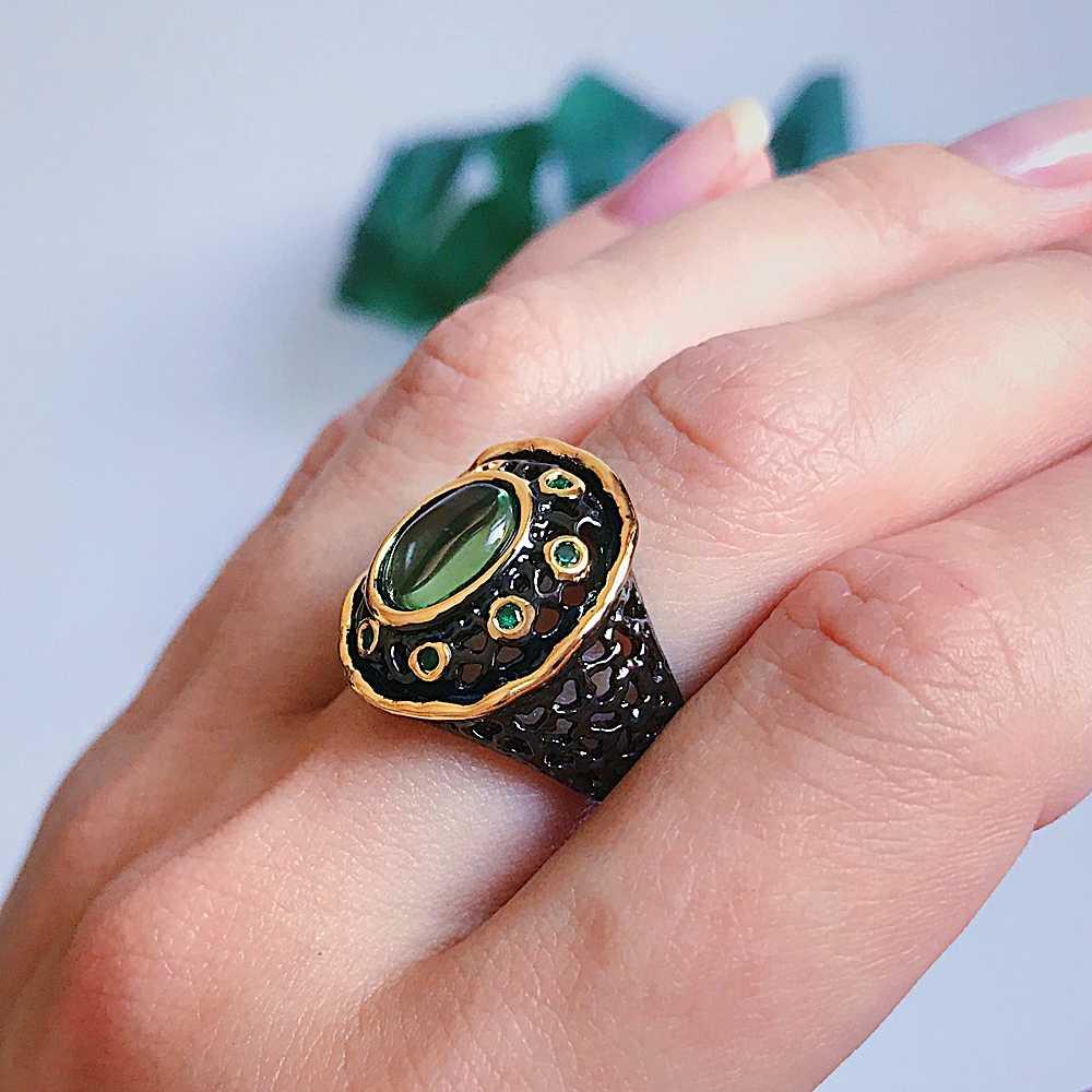 Женское элегантное кольцо DreamCarnival 1989, готическое кольцо черного и золотого цвета с круглым зеленым цирконом, винтажная бижутерия, WA11484, 2019