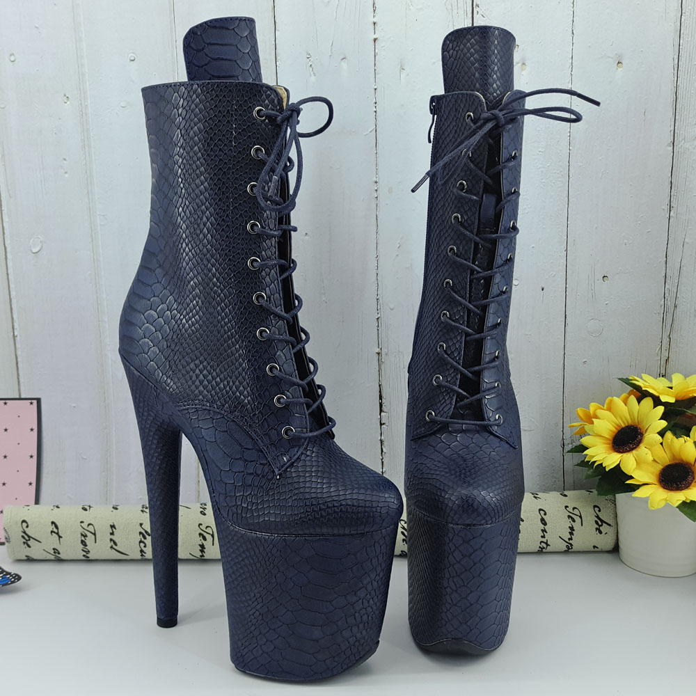 Leecabe Navy Snake PU 20CM/8inches Pole Dancing Shoes High Heel Platform Boots Closed Toe Pole Dance Boots