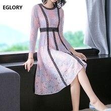 Высококачественное кружевное платье, осенний стиль, женские черные кружевные Цветные Блоки, 3/4 рукав, длина до середины икры, большие вечерние платья