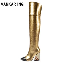 autumn winter boots woman black gold metal leather pointed toe over the knee thigh high boots woman sexy high heel booties mujer hot selling black leather height increasing woman boots round toe knee high boots 2017 winter gold chains wedge boots