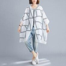 [EWQ] 2020 Spring Summer New Arrivals V-neck Three Quarter Sleeve Striped Print Pattern Wom