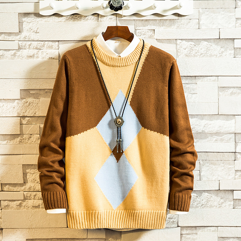 Winter Sweater Men's Warm Fashion Hit Color Casual O-neck Knitted Pullover Men Loose Knitting Sweaters Male Sweter Clothes