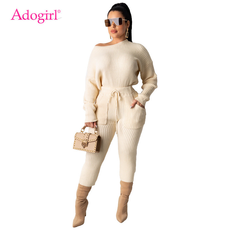 Adogirl Women Fashion Casual Sweater Two Piece Set O Neck Long Sleeve Loose Pullover Top Pencil Pants Knitted Ribbed Suits