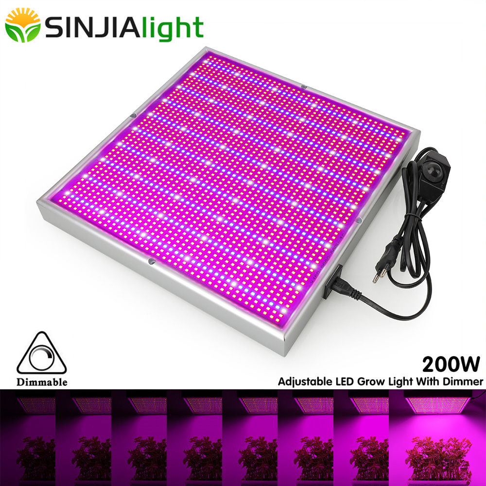200W LED Grow Light Dimmable Full Spectrum 2000LEDs Growing Phyto Lamp For Plants Hydroponics Flowers Indoor Grow Tent +Dimmer