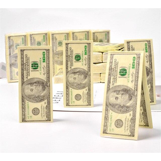 10pc 100 $ 달러 냅킨 미국 달러 빌 돈 종이 타월 파티 선물 일회용 냅킨 웨딩 파티 생일 장식
