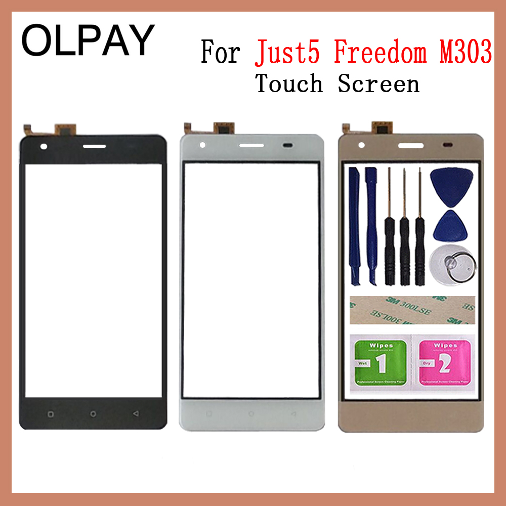 OLPAY 5.0'' inch For Just5 Freedom M303 Touch Screen Digitizer Panel Front Outer Front Glass Lens Sensor Free Adhesive+Wipes(China)