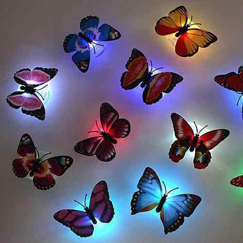 1 adet 7 renk değiştirme güzel yaratıcı sevimli kelebek LED gece lambası küçük fantezi fener ev ofis konferans odası masası duvar dekor lambası