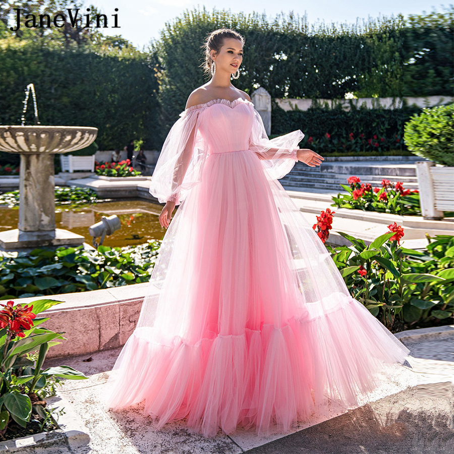 JaneVini 2020 Charming Pink Princess Prom Dresses with Puffy Long Sleeves Sweetheart Ruched Tulle A Line Plus Size Formal Dress