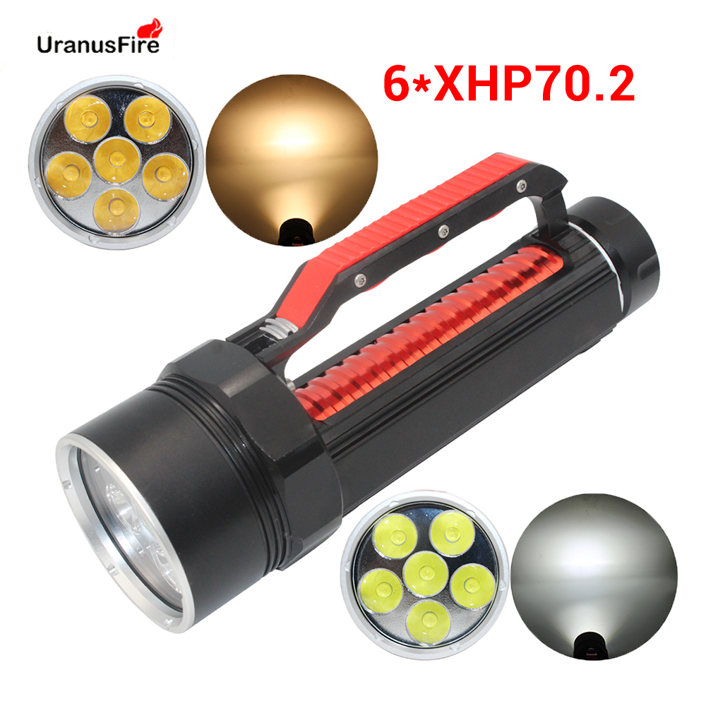 High Power XHP70.2 LED Diving Flashlight Torch Yellow White Light 10000Lumens Waterpoof Underwater 100M Scuba Xhp70 .2 Dive Lamp