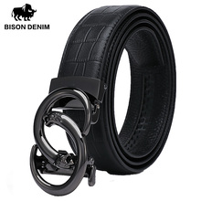 BISON DENIM Genuine Leather Men Belt Luxury Strap Automatic Buckle Cowskin for Male High Quality W71510