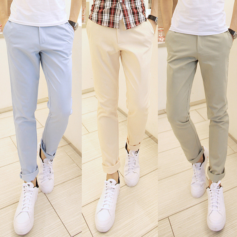 2019 Spring Clothing New Style Light Color Men's Casual Long Pants Solid Color Slim Fit Cotton MEN'S Casual Pants
