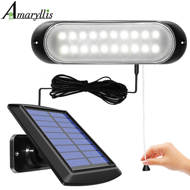 Newest 20 led Solar Lamp Separable Solar Panel and Light With Line Waterproof Pull- Switch Lighting Available Outdoor or Indoor 1