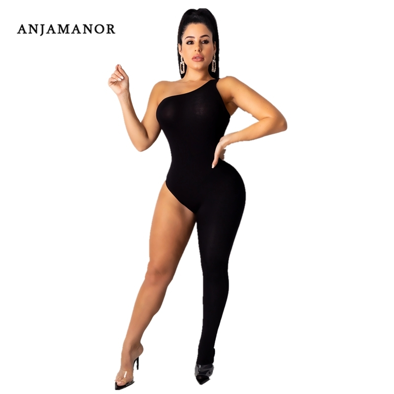 ANJAMANOR Fashion Hot One Legged Bodycon Jumpsuit Romper Women 2020 Sexy Going Out Party Club One Piece Outfits Black Tiger Pink