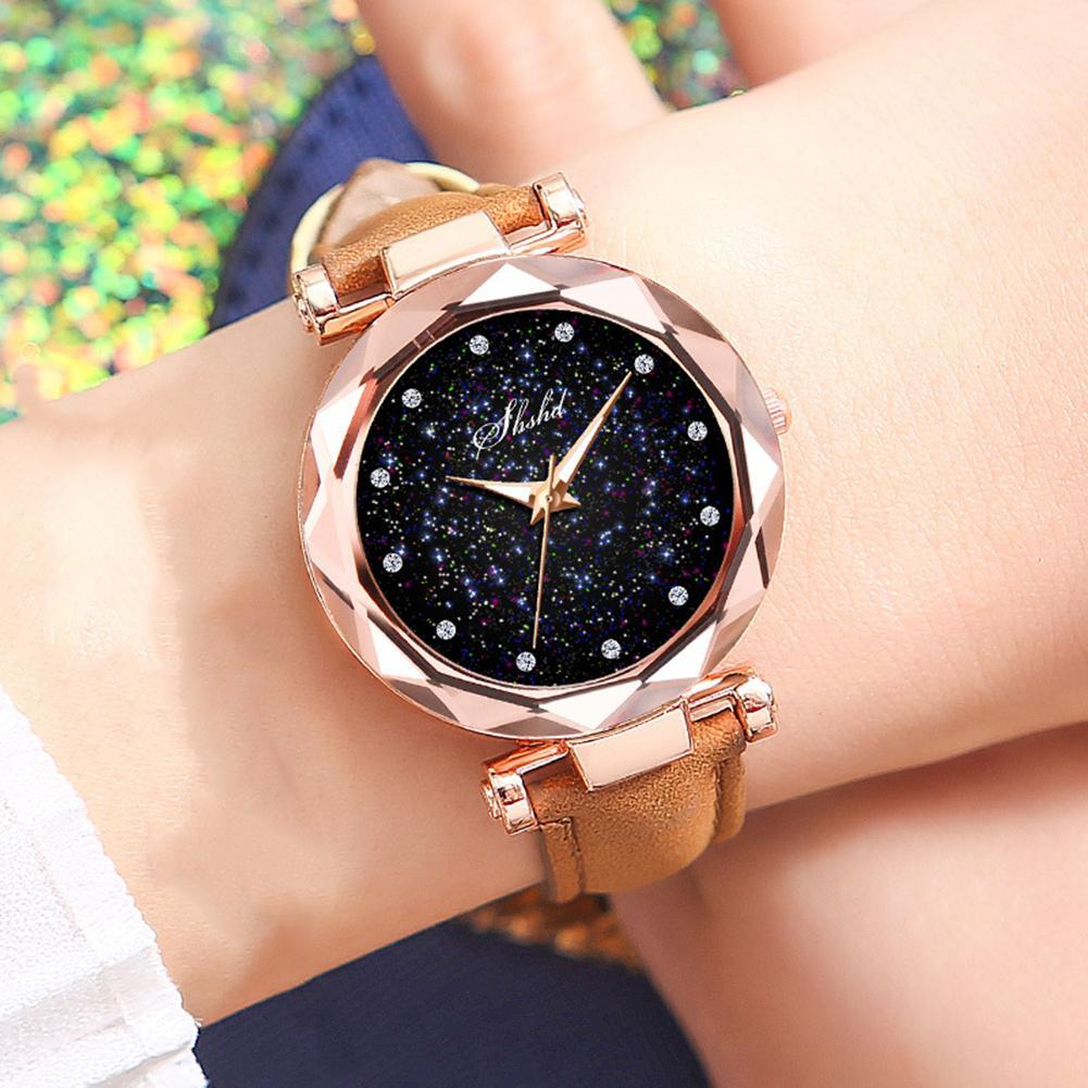 Women Watch Index Starry Sky Luxury Faux Leather Band Quartz Wristwatch Rhinestone Designer Ladies Clock Simple Dress Watch Gfi