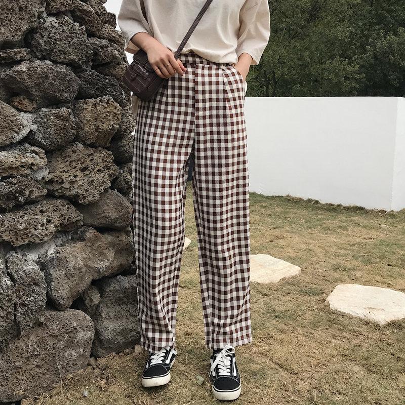 Alien Kitty Summer High Quality Slim Casual 2020 Trousers Loose Women Full Length Fashion Elastic Plaid High Waist Trousers