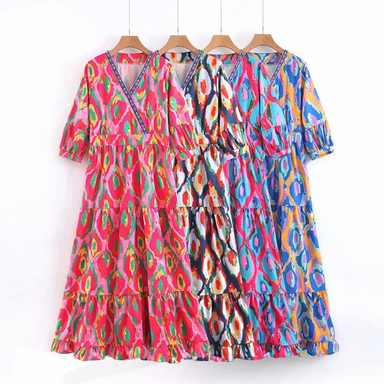 Europe And America 2019 Summer New Style Four Colors Ethnic-Style Dyed Large Long Skirts Laminated Ornaments Dress K7-m099
