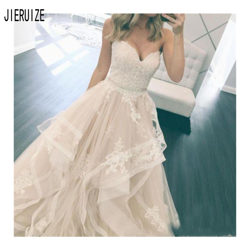 JIERUIZE Simple Elegant Wedding Dresses Appliques Sweetheart Crystal Sash Button Back Beach Tulle Tiered Skirts Bridal Gowns