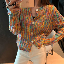 Harajuku Cardigan Sweaters Korean-Top Knitted Girls Colorful Stripes Fashion Women Syiwidii
