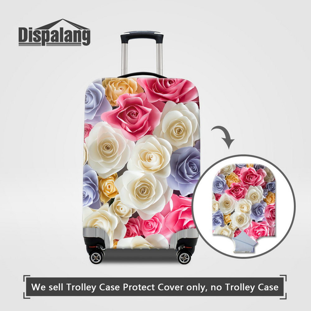 Dispalang Women Travel Luggage Protective Cover Rose Printing Case For Suitcase Custom Flower Designer Elastic Luggage Bag Cover