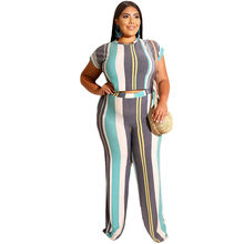 Women Set Crop Top & Pant 2-Pieces Clothes Short Sleeve Multi Color Large Size High Waist Maxi Summer Set Female Plus Size 5XL(China)
