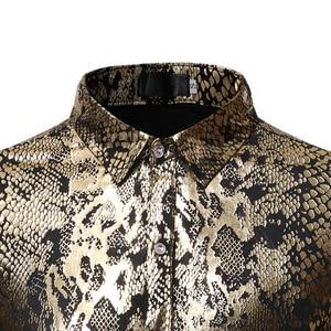 Image 4 - Sexy Snake Pattern Metallic Shirt Men 2019 Fashion New Slim Fit Long Sleeve Social Shirt Male Party Nightclub Prom Chemise Homme