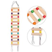 Hamster Climbing Ladder Parrot Bird Wooden Ladder Funny Small Pet Playing Toy with Bite Toy Beads (Beige)(China)
