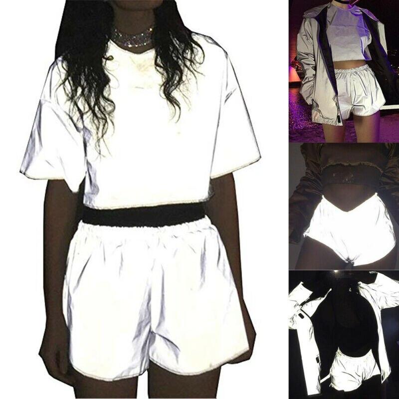 Women's Shorts Female High Street Hip Hop Fashion Sexy Reflective Shorts Shiny Bottoms Festivals Clubwear Costumes Silver